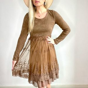 A'reve Brown Wool Sweater Dress w/ Lace Overlay M